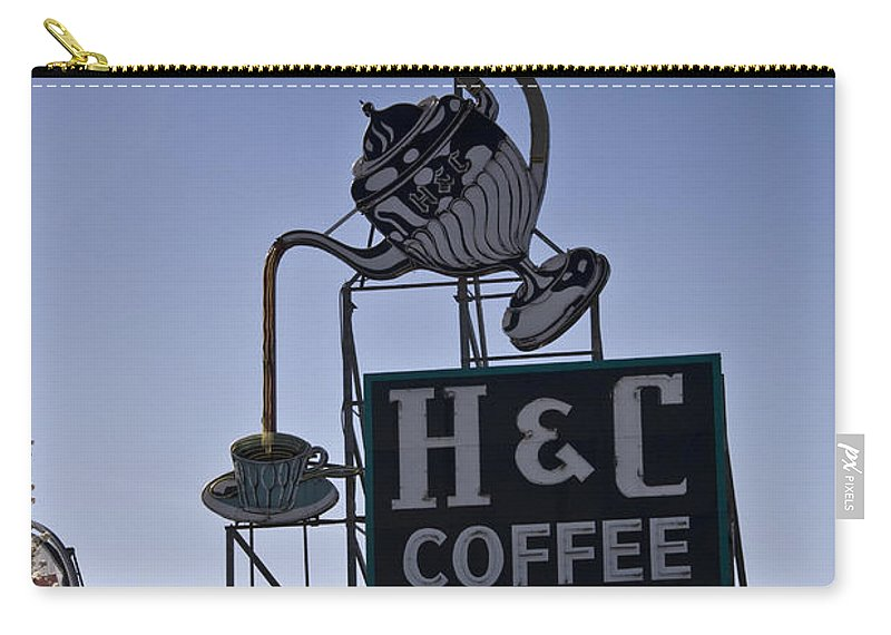 Neon Carry-all Pouch featuring the photograph H And C Coffee Sign Roanoke Virginia by Teresa Mucha