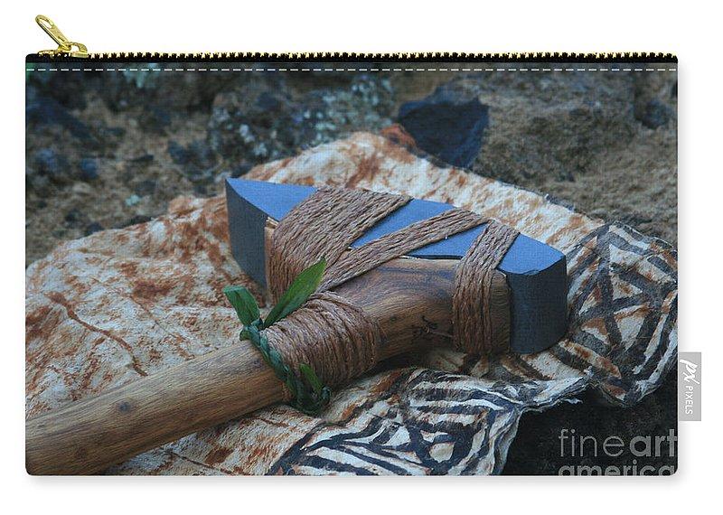 Aloha Carry-all Pouch featuring the photograph Hafted Hawaiian Adze Wailea Maui Hawaii by Sharon Mau