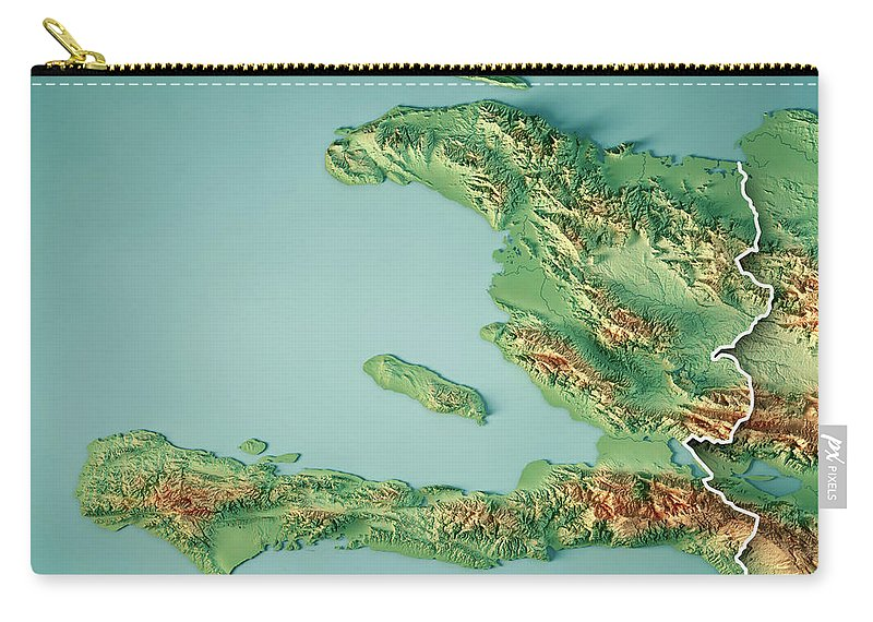 Topographic Map Of Haiti.Haiti 3d Render Topographic Map Border Carry All Pouch For Sale By