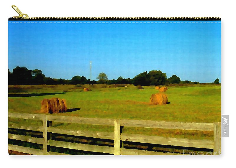 Hay Carry-all Pouch featuring the photograph Hale Bales In Late Summer by Michael Potts