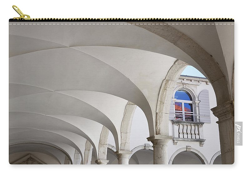Abstract Carry-all Pouch featuring the photograph Half Arched Portal Of The Minorite Monastery Cloister Attached T by Reimar Gaertner