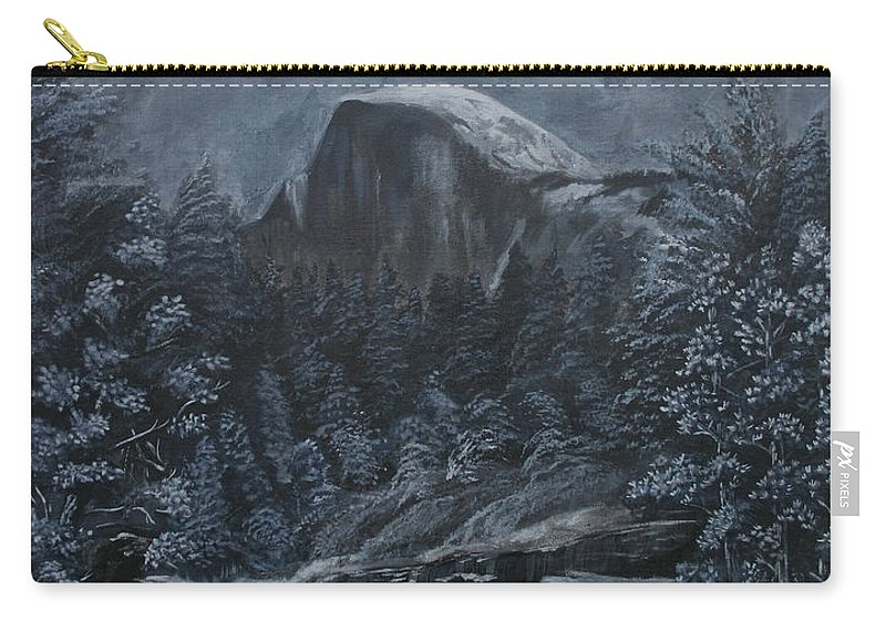 Yosemite Carry-all Pouch featuring the painting Half Dome Black And White by Travis Day