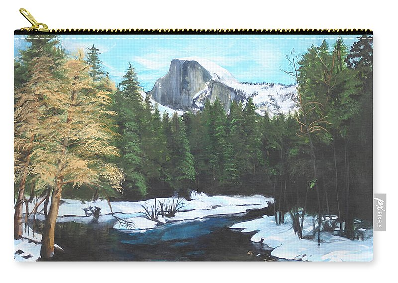 Lkandscape Carry-all Pouch featuring the painting Half Dome snow by Travis Day