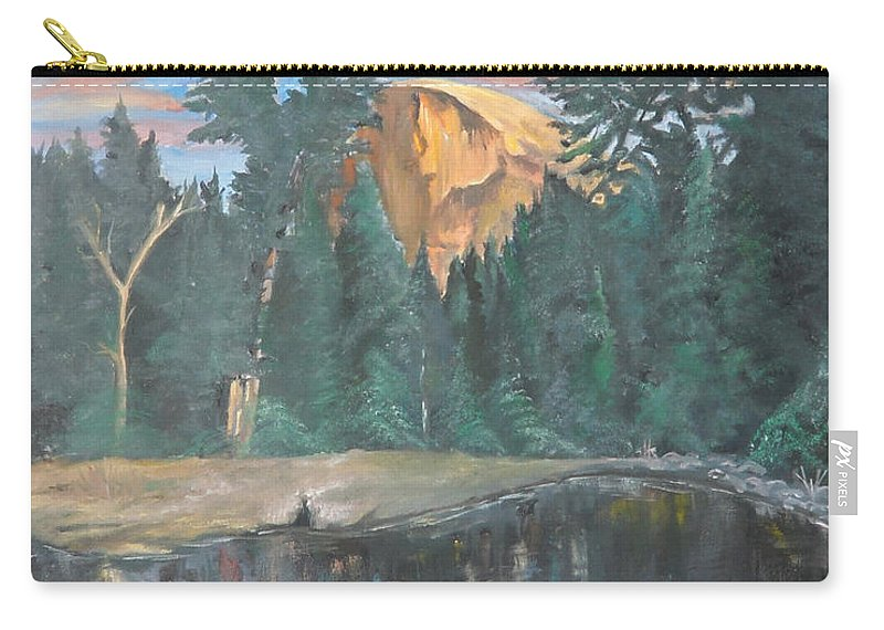 Sunset Carry-all Pouch featuring the painting Half Dome Sunset by Travis Day