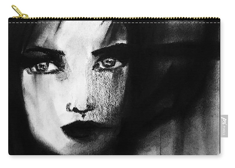 Charcoal Carry-all Pouch featuring the painting Half In The Shadows by Madhurima Mukherjee