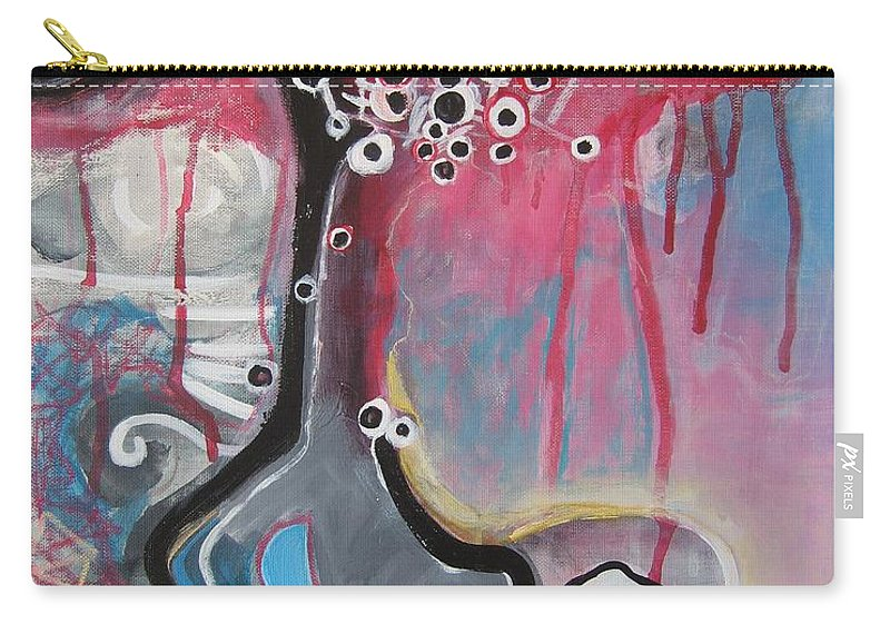 Abstract Paintings Carry-all Pouch featuring the painting Half Moon On Vase by Seon-Jeong Kim