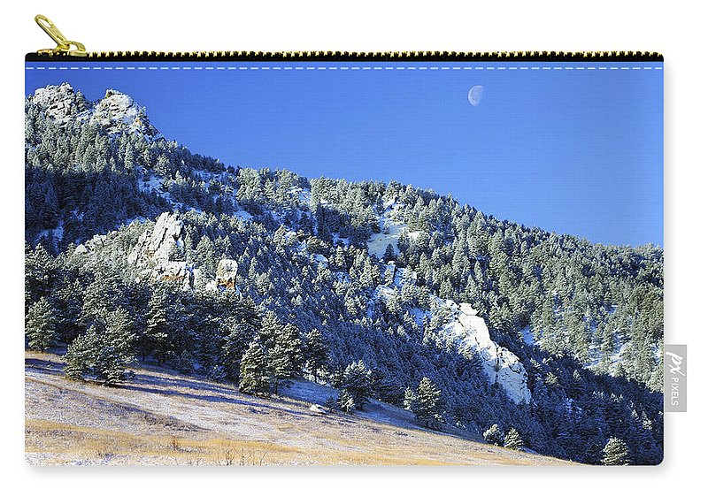 Nature Carry-all Pouch featuring the photograph Half Moon Over The Flatirons by Marilyn Hunt