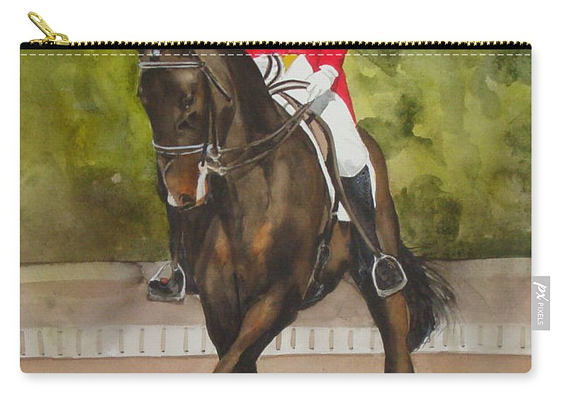 Horse Carry-all Pouch featuring the painting Half-Pass To The Right by Jean Blackmer
