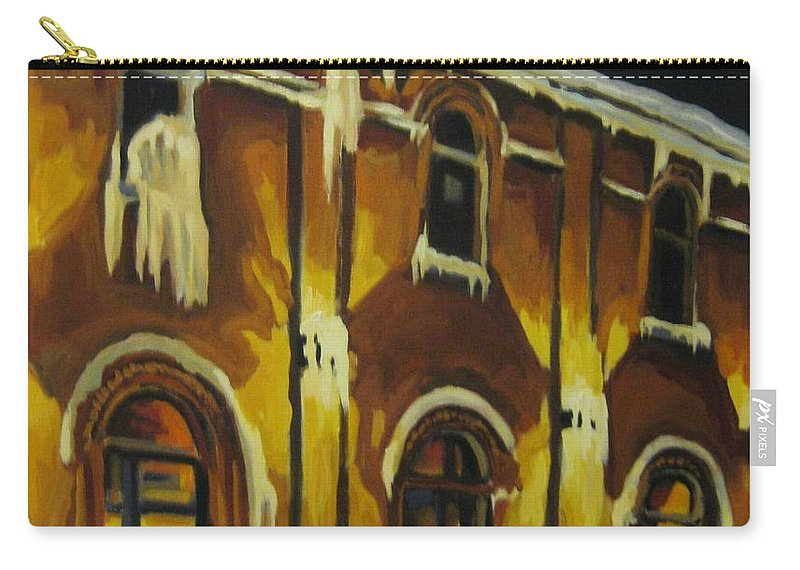 Urban Landscapes Carry-all Pouch featuring the painting Halifax Ale House In Ice by John Malone