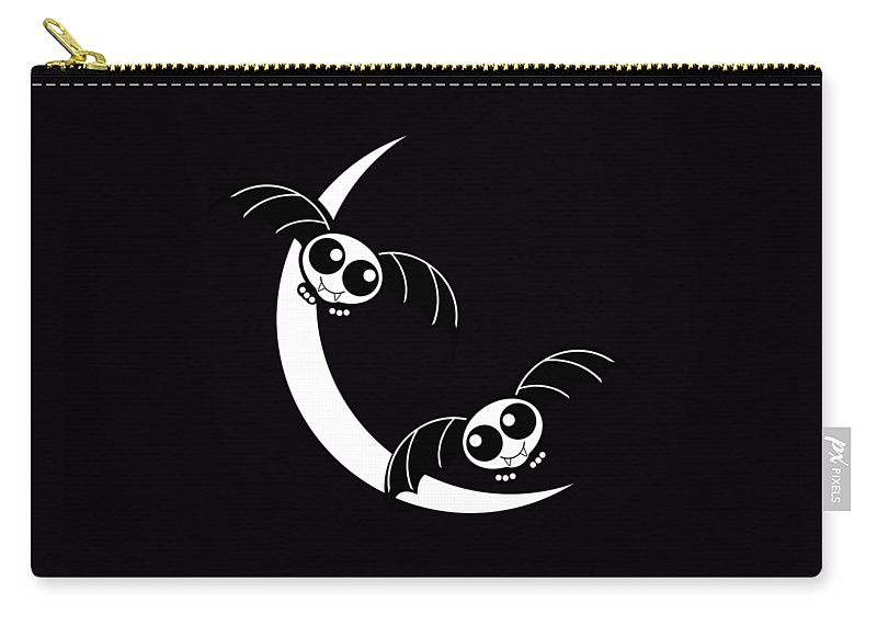Halloween Carry-all Pouch featuring the mixed media Halloween Bats And Crescent Moon by Gravityx9 Designs