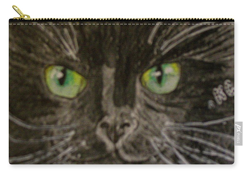 Halloween Carry-all Pouch featuring the painting Halloween Black Cat I by Kathy Marrs Chandler