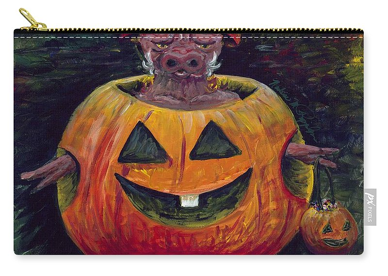 Halloween Carry-all Pouch featuring the painting Halloween Hog by Nadine Rippelmeyer