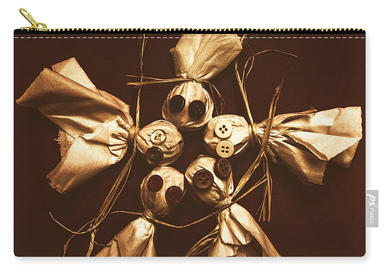 Halloween Carry-all Pouch featuring the photograph Halloween Horror Dolls On Dark Background by Jorgo Photography - Wall Art Gallery
