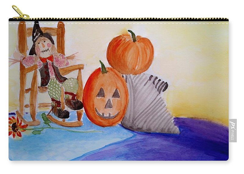 Halloween Carry-all Pouch featuring the painting Halloween by Jamie Frier