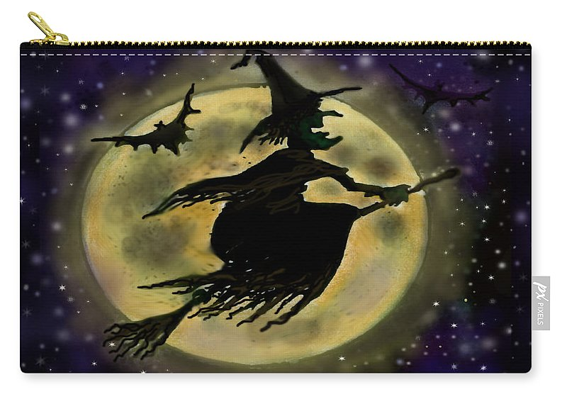 Halloween Carry-all Pouch featuring the digital art Halloween Witch by Kevin Middleton