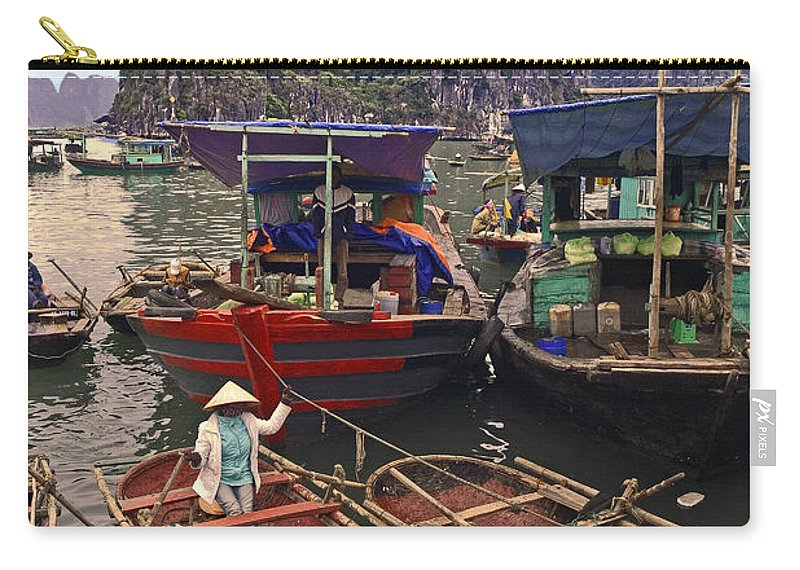 Wood Row Boats Carry-all Pouch featuring the photograph Halong Bay Harbor Scene by Sally Weigand