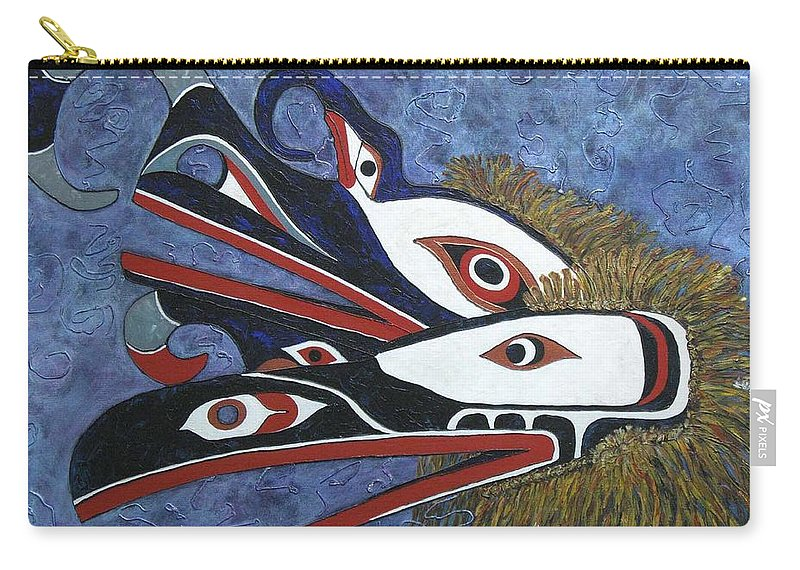 North West Native Carry-all Pouch featuring the painting Hamatsa Masks by Elaine Booth-Kallweit