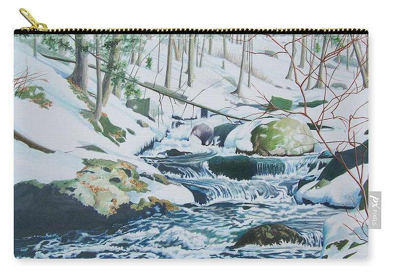 Snow Carry-all Pouch featuring the mixed media Hamburg Mountain Stream by Constance Drescher