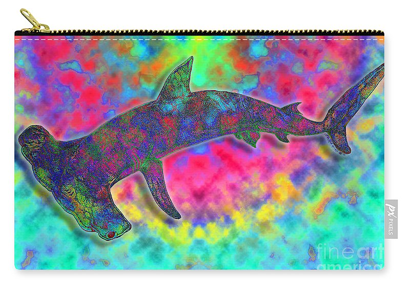 Hammer Head Shark Carry-all Pouch featuring the drawing Hammer Head 2 by Nick Gustafson