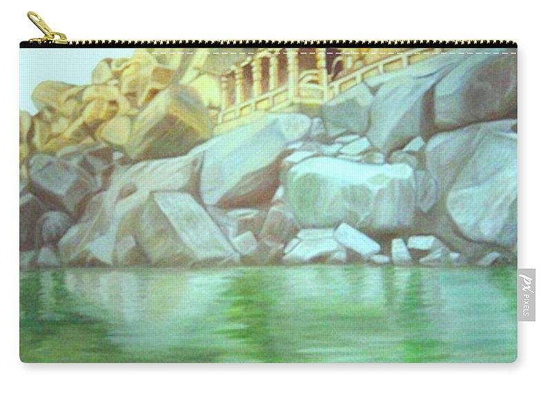Hampi Carry-all Pouch featuring the painting Hampi On Tungabadra 2 by Usha Shantharam