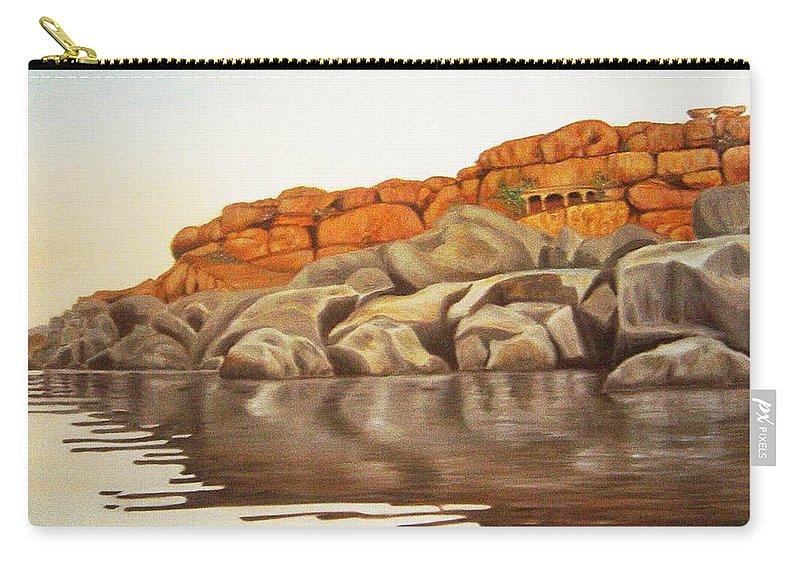 Hampi Carry-all Pouch featuring the painting Hampi On Tungabadra by Usha Shantharam