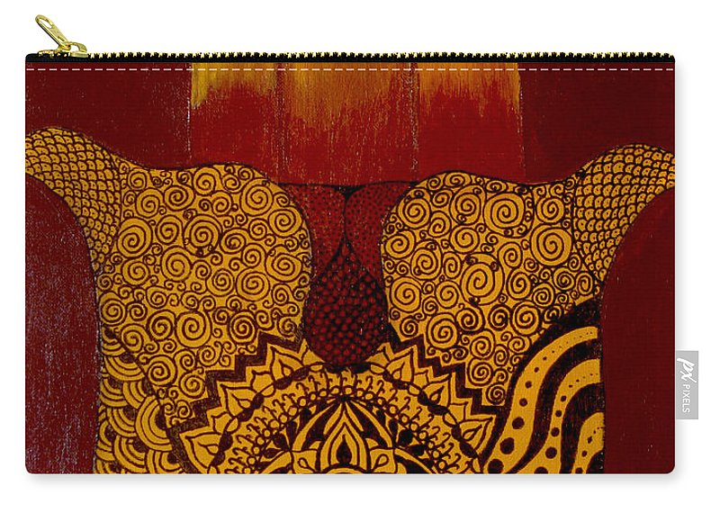 Hamsa Carry-all Pouch featuring the painting Hamsa- Brown by Marla Bender
