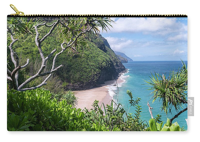 Na Pali Coast Carry-all Pouch featuring the photograph Hanakapiai Beach by Brian Harig