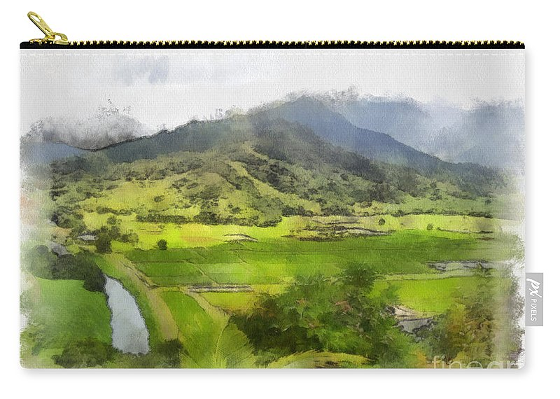 Hanalei Carry-all Pouch featuring the painting Hanalei Valley by Paulette B Wright