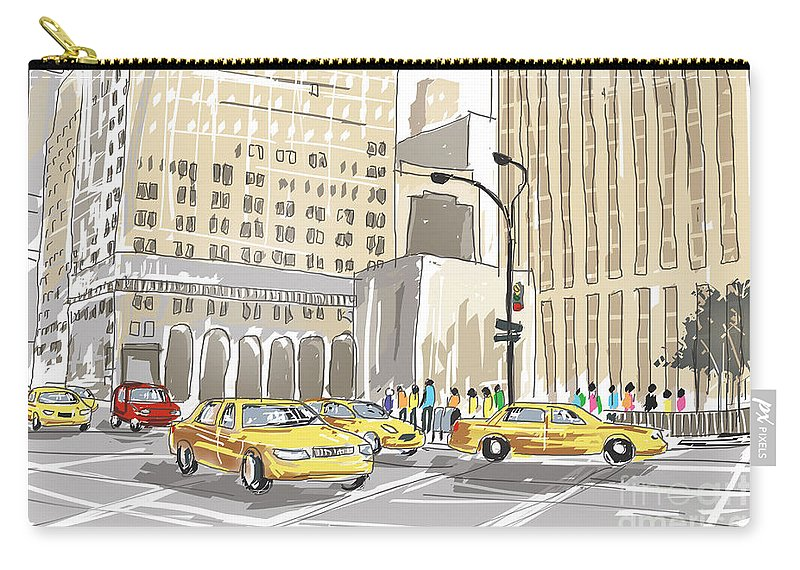New Carry-all Pouch featuring the photograph Hand Drawn Sketch Of A Busy New York City Street by Jorgo Photography - Wall Art Gallery