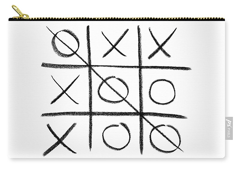 Noughts And Crosses Carry-all Pouch featuring the photograph Hand-drawn tic-tac-toe game by GoodMood Art