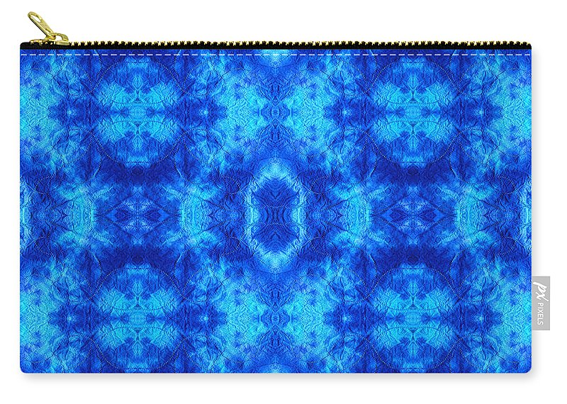 Dyed Carry-all Pouch featuring the digital art Hand-dyed Blue And Turquoise Fabric With Zig Zag Stitch Details by Anita Van Den Broek