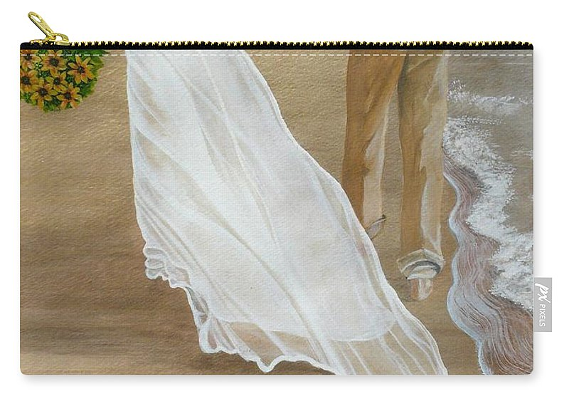 Bride And Groom Carry-all Pouch featuring the painting Hand In Hand by Kris Crollard