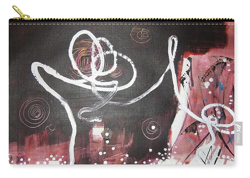 Abstract Paintings Carry-all Pouch featuring the painting Hand In Hand2 by Seon-Jeong Kim