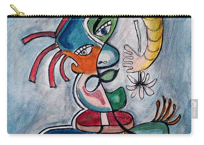 Abstract Face Carry-all Pouch featuring the painting Hand Me A Flower by W Todd Durrance