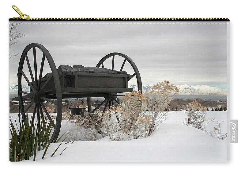 Handcart Carry-all Pouch featuring the photograph Handcart Monument by Margie Wildblood
