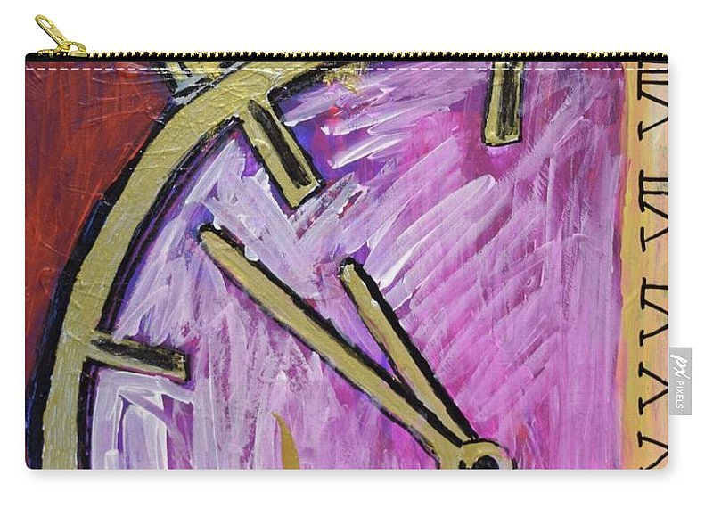 Clocks Carry-all Pouch featuring the painting Hands Of Time by Aj Watson