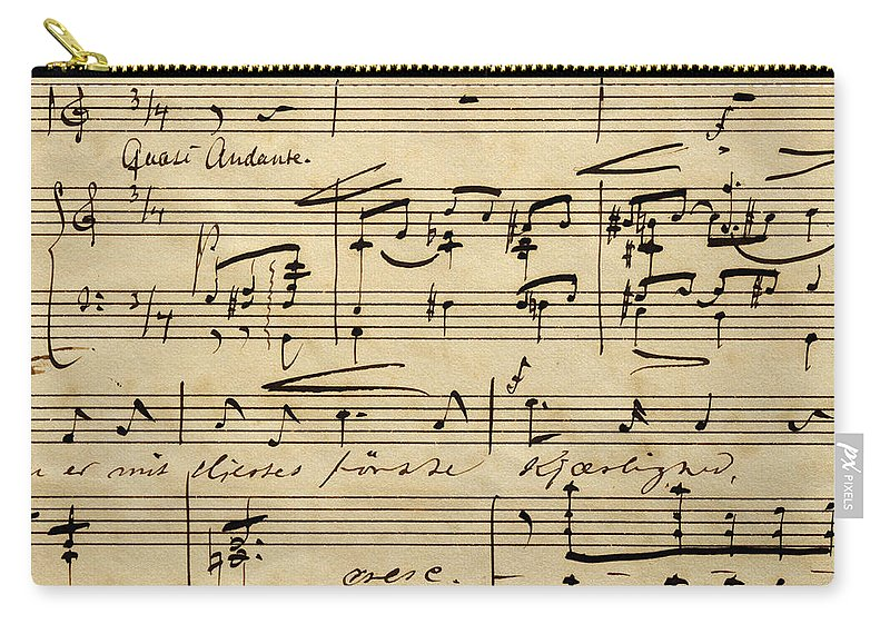 Music Carry-all Pouch featuring the drawing Handwritten Score For Hjertets Melodier, Opus 5 by Edvard Grieg