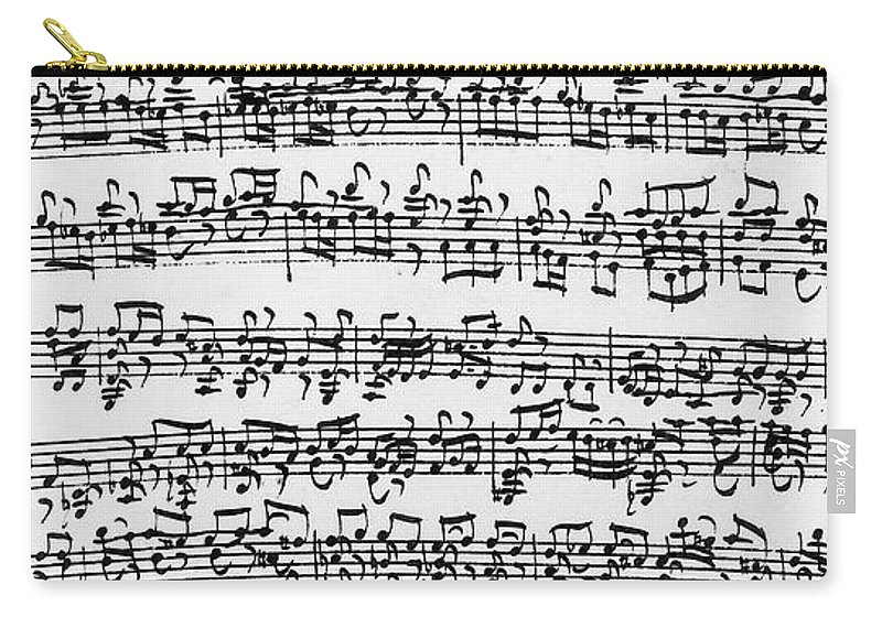 Baroque Carry-all Pouch featuring the drawing Handwritten Score Of Sonata No 1 For Solo Violin by Johann Sebastian Bach