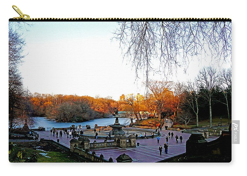 Monument Carry-all Pouch featuring the photograph Hangin' At Bethesda Fountain by Kendall Eutemey