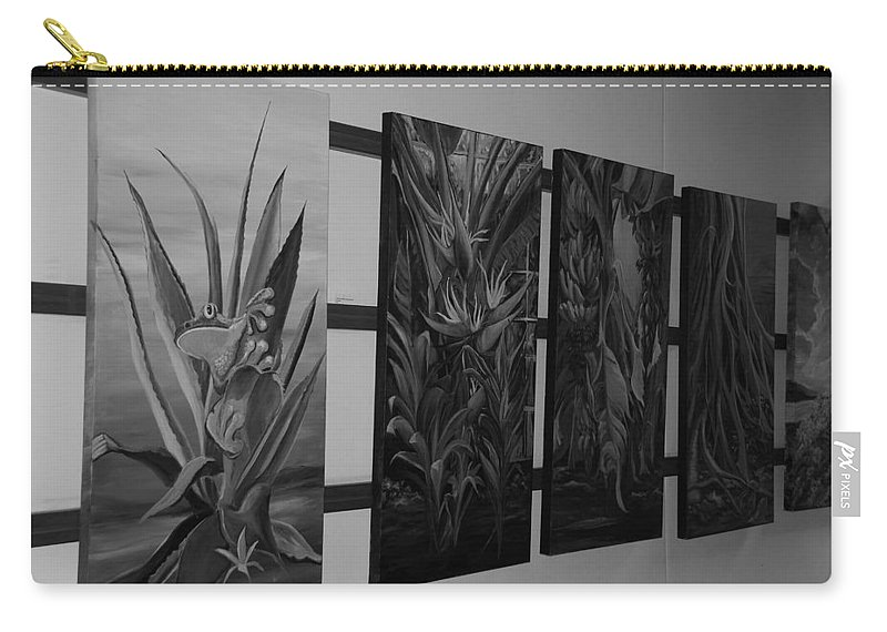 Black And White Carry-all Pouch featuring the photograph Hanging Art by Rob Hans