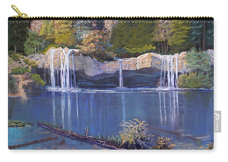 Landscape Carry-all Pouch featuring the painting Hanging Lake by Heather Coen