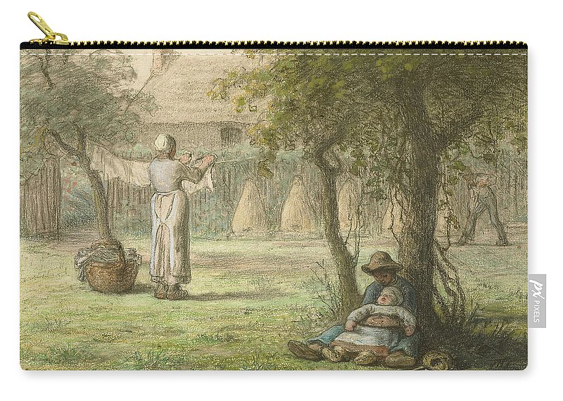 Hanging Out The Laundry By Jean-françois Millet Carry-all Pouch featuring the painting Hanging Out The Laundry By Jean-francois Millet by Adam Asar