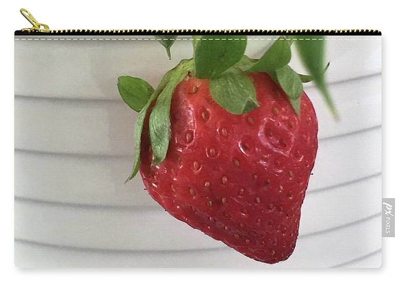 Strawberry Carry-all Pouch featuring the photograph Hanging Strawberry by Marian Palucci-Lonzetta