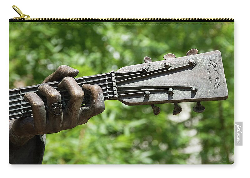 Hank Williams Hand And Guitar Carry-all Pouch featuring the photograph Hank Williams Hand And Guitar by Debra Martz