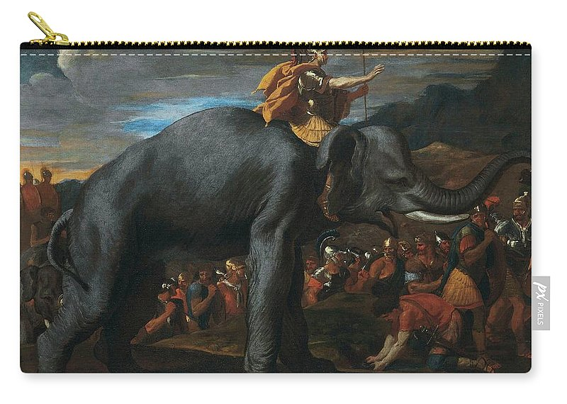 Hannibal Crossing The Alps On Elephants By Nicolas Poussin Carry-all Pouch featuring the painting Hannibal Crossing The Alps On Elephants By Nicolas Poussin, 1625-1626. by Adam Asar