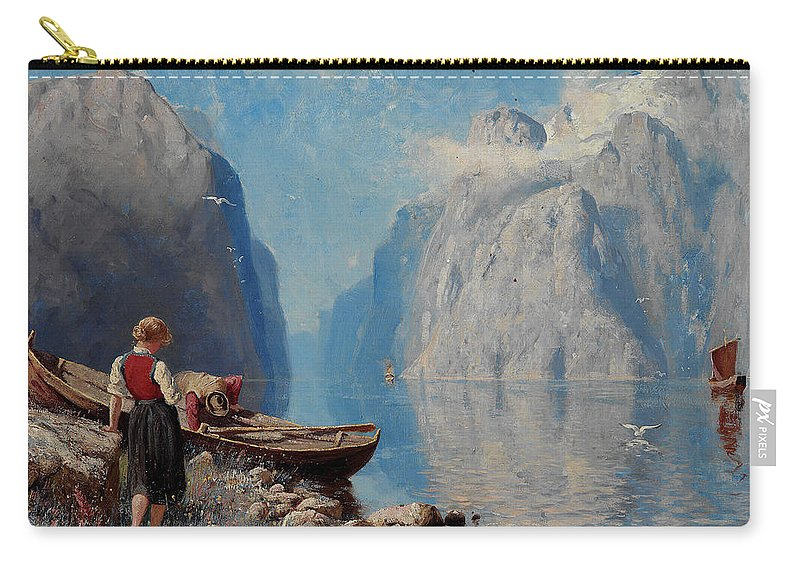Hans Dah Carry-all Pouch featuring the painting Hans Dah, B. 1849. D. 1937. Norwegian Girl By The Sea by Adam Asar