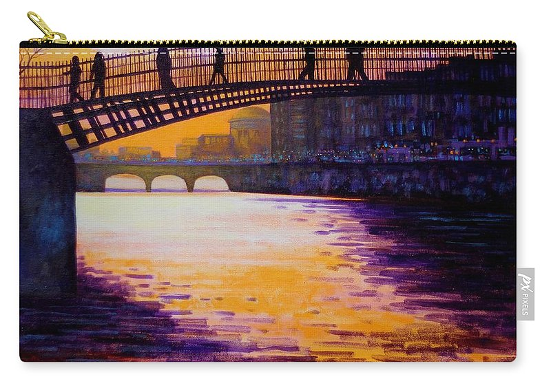 Dublin Carry-all Pouch featuring the painting Ha'penny Bridge Dublin by John Nolan