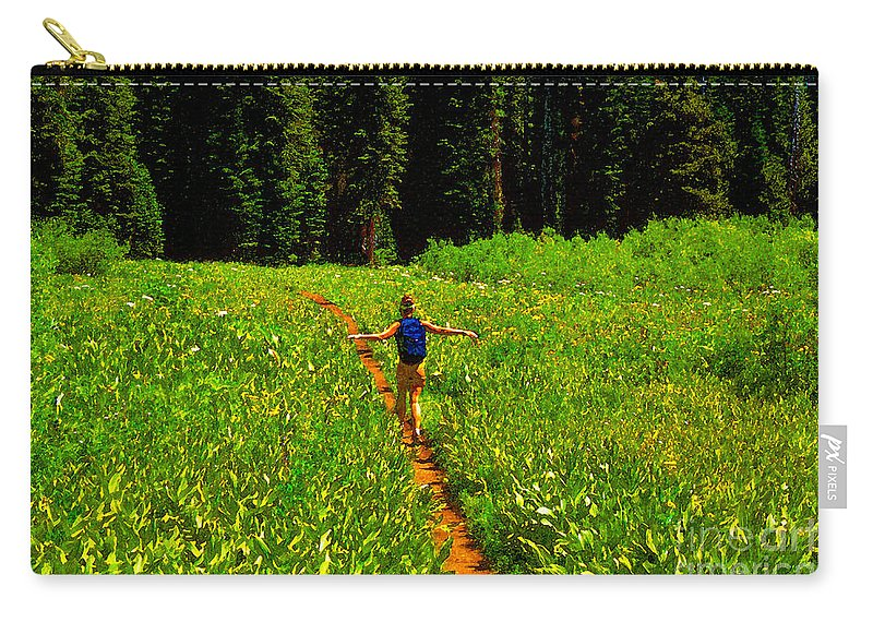 Hiking Carry-all Pouch featuring the painting Happiness Is A Trail by David Lee Thompson