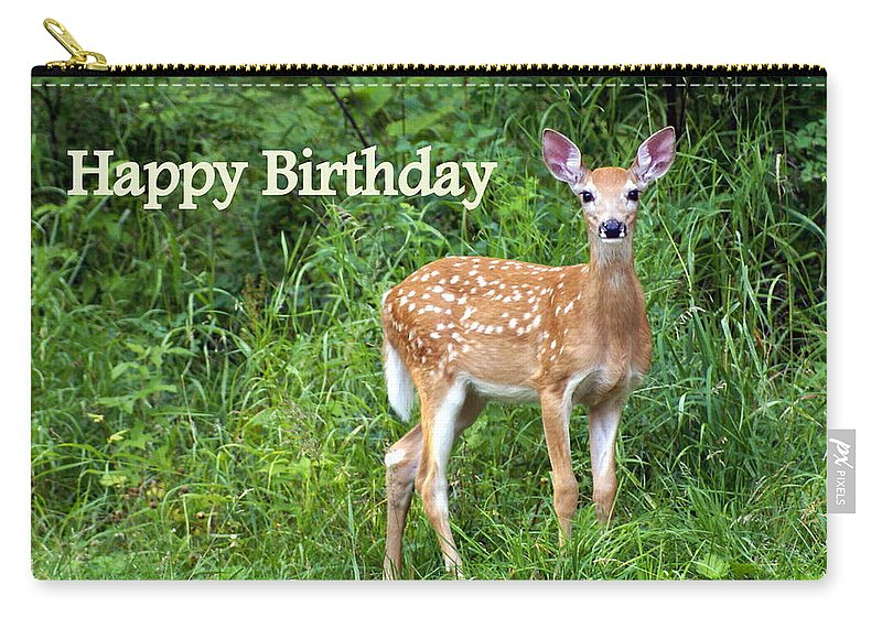 Happy Birthday Carry-all Pouch featuring the greeting card Happy Birthday 1 by Marty Koch