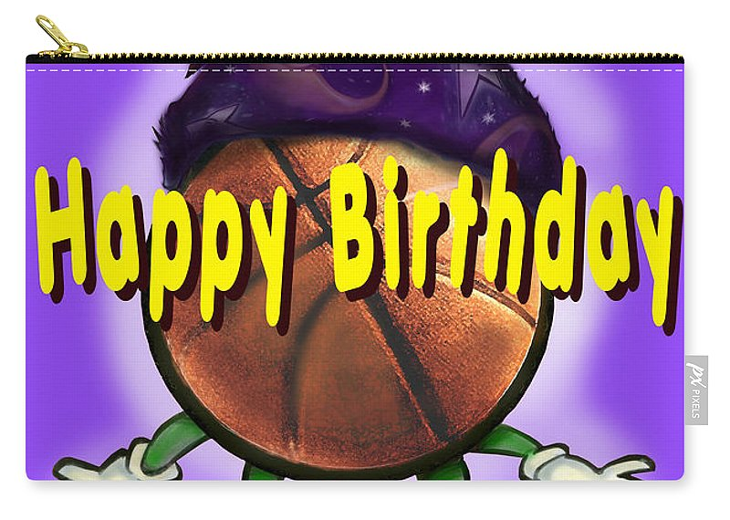 Happy Birthday Carry-all Pouch featuring the greeting card Happy Birthday Basketball Wiz by Kevin Middleton